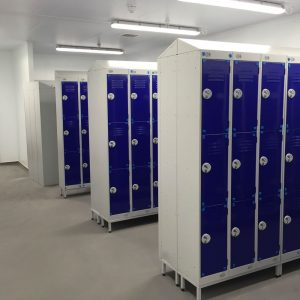 Staff lockers in a food factory