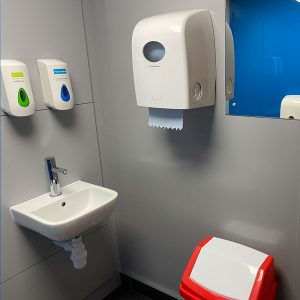 Hygienic PVC cladding at the staff toilets at the Cranswick factory in Hull