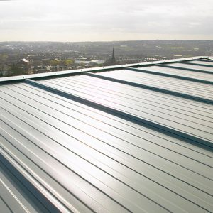 External roof cladding on a factory